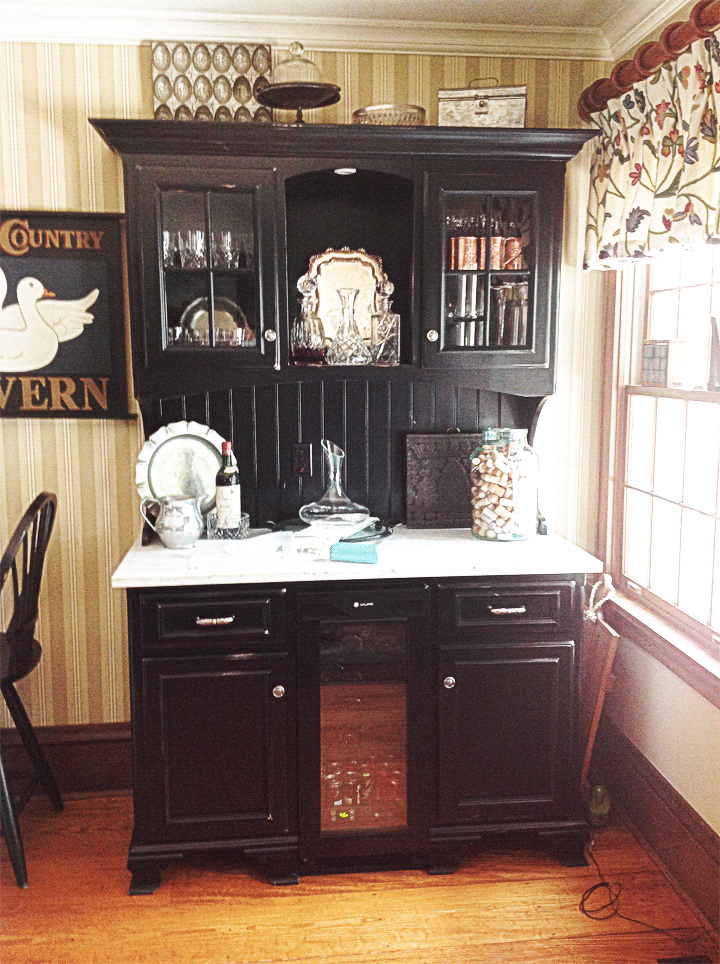 Custom Kitchen Hutch with Marble Counter Top for a Upper Arlington Family.