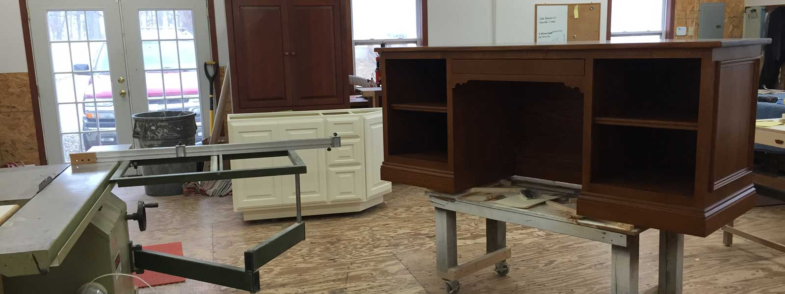 Custom Office Desk being constructed in our Central Ohio workshop.